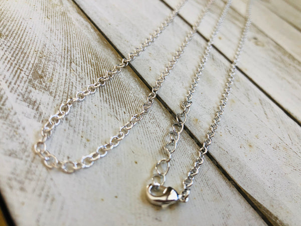 Silver plated thin chain, 16, 18, 24, 36