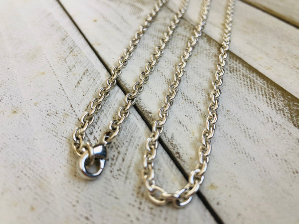 Silver plated thick chain, 18, 24, 30in