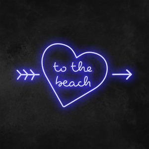 'To The Beach' Heart Neon Sign