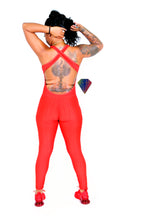 PUSH THRU KOOL-AID RED YOGA WORKOUT JUMPSUIT
