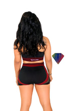 FISHNET CLEAVAGE SPORTS BRA WITH FITTED SHORTS SET