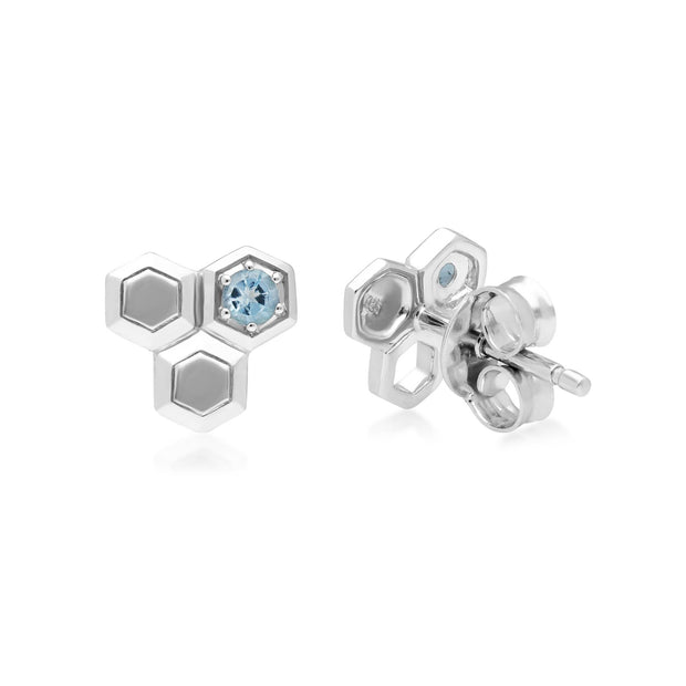 Honeycomb Blau Topas Hexagon Ohrstecker in 925 Sterling Silber