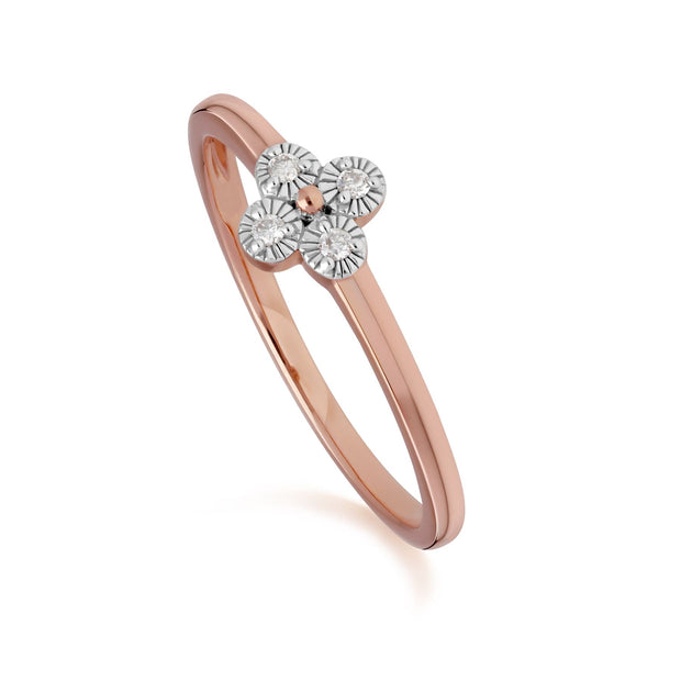 Diamant Blumen Ring in 9ct Rose Gold