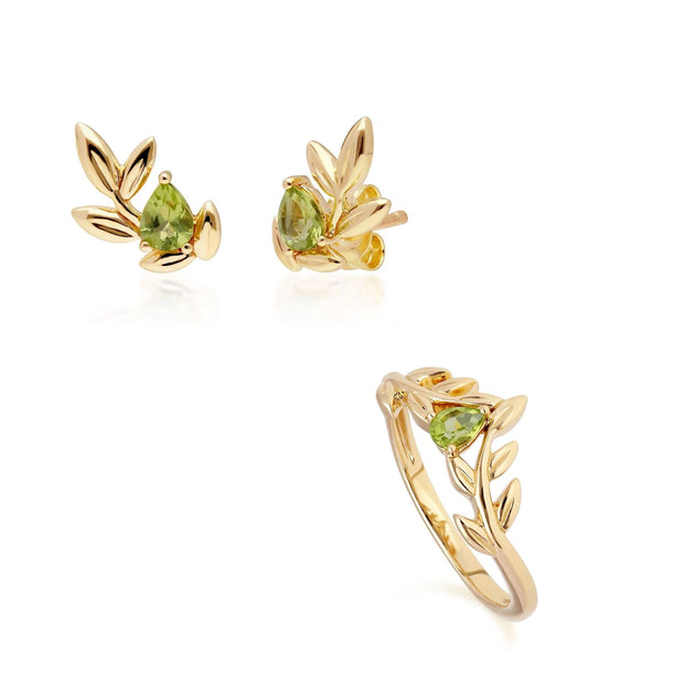 O Leaf Peridot Ohrstecker & Ring Satz in 9ct Gelb Gold
