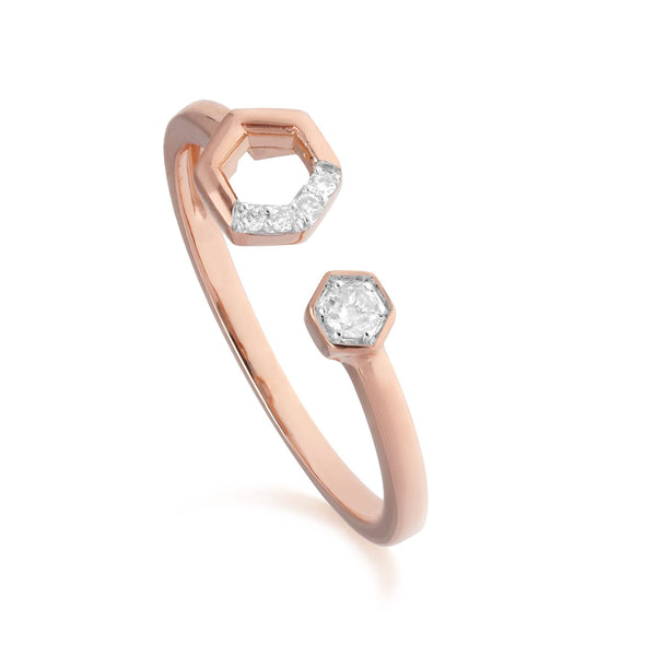 Diamant Pave Offen Ring in 9ct Rose-gold