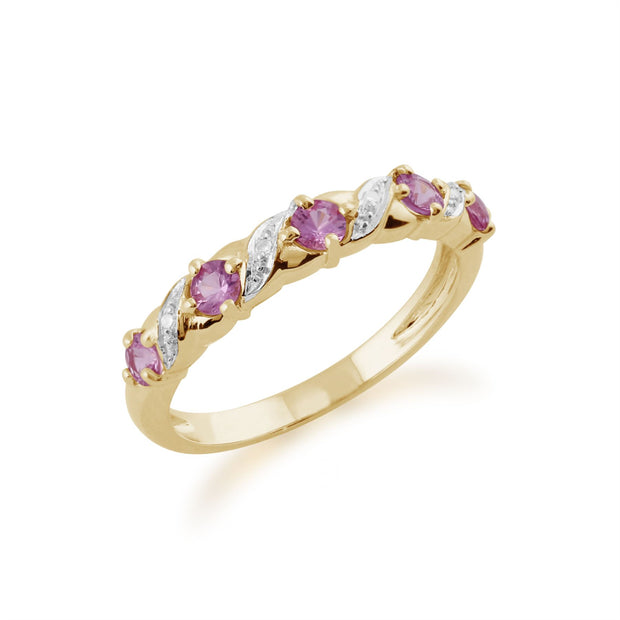 Rosa Saphir Ring 9ct Gelbgold 0,50 CT Rosa Saphir & Diamant Ring