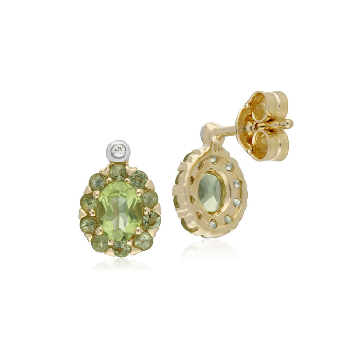 Peridot & Diamant Ovale Trauben Ohrringe in 9ct Gelb Gold