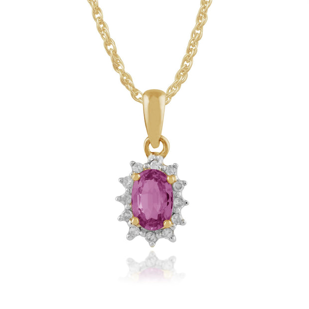 Oval Rosa Saphir & Diamant Anhänger in 9ct Gelb Gold
