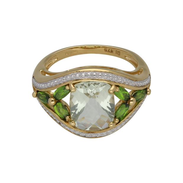 Kosmos Grüner Quarz & Chrom-Diopsid Cocktail Ring in 9ct Gelb Gold