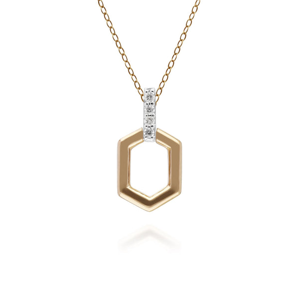 Diamond Pave Hex Bar Pendant in 9ct Yellow Gold