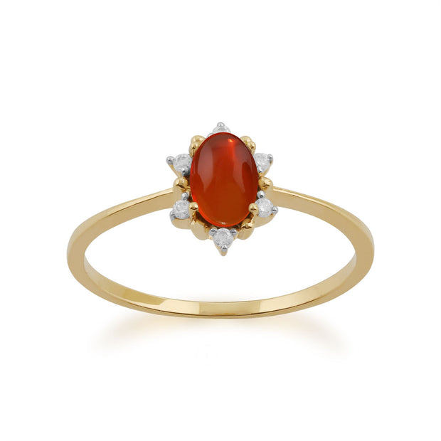 Ovaler Feuer Opal & Diamant Ring in 9ct Gelb Gold