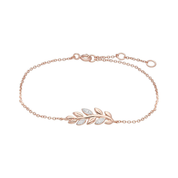 O Leaf Diamant Armband & Ohrstecker Satz  in 9ct Rose Gold