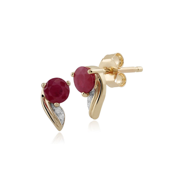 Ruby Ohrring, 9 ct Gelb Gold 0,68 CT Rubin und 0,01 Karat Diamant Ohrringe