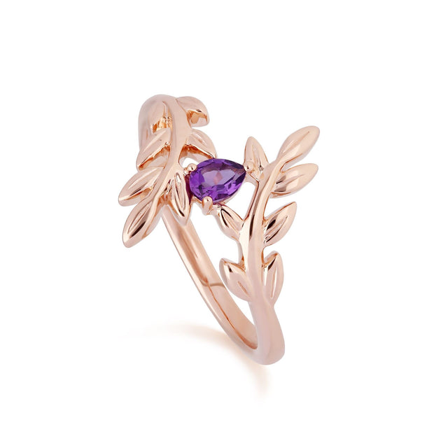 O Leaf Amethyst Ohrstecker & Ring Satz in 9ct Rose Gold