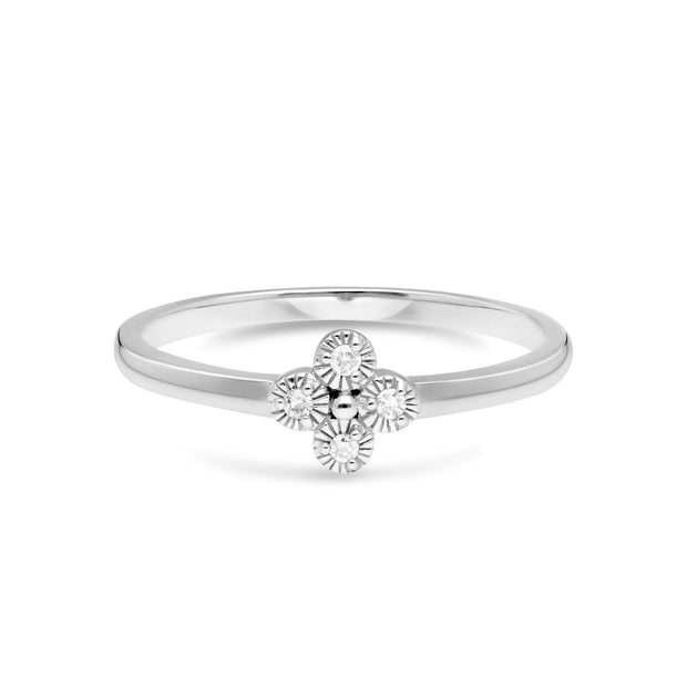 Diamant Blumen Ring in 9ct Weiß Gold