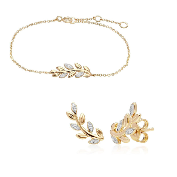 O Leaf Diamant Armband & Ohrstecker Satz in 9ct Gelb Gold