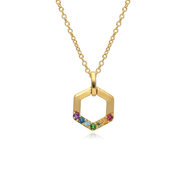 Regenbogen Hexagon Halskette in Vergoldetem Sterling Silber