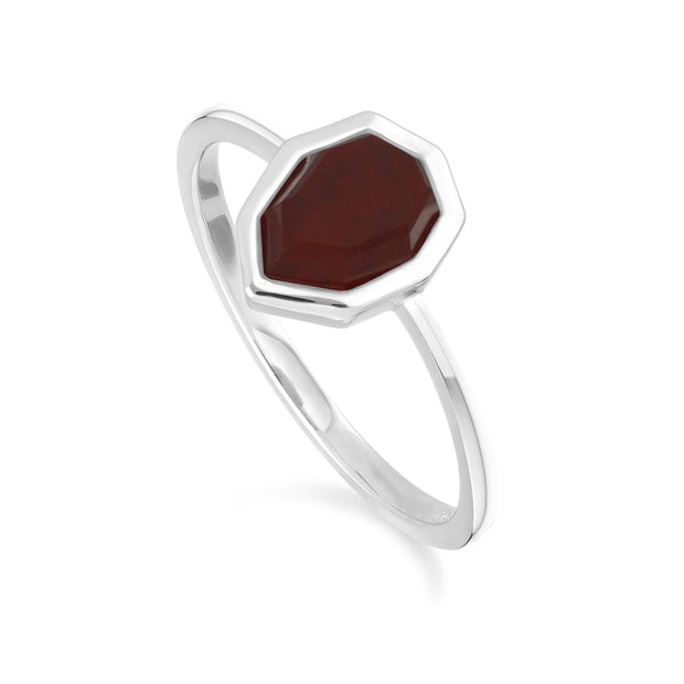 Irregular B Gem Rotter Jasper Ring in 925 Sterling Silber