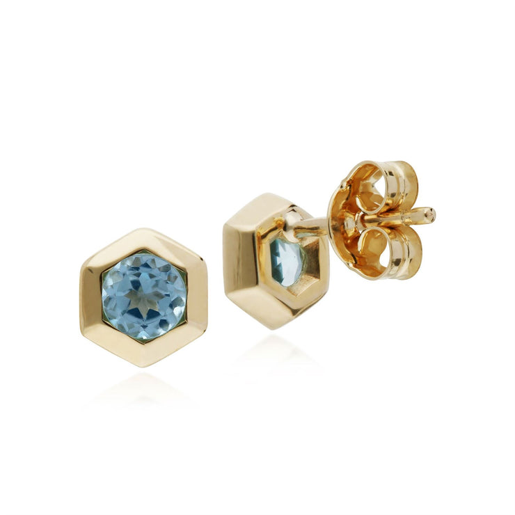 Aquamarin Ohrring, 9 Karat Gelbgold Aquamarin Hexagon Ohrstecker