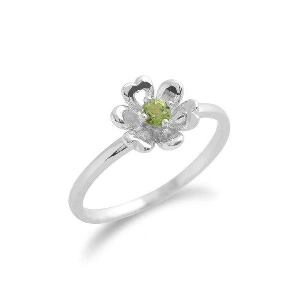 Peridot-Ring, 925 Sterlingsilber 0.13ct kt Peridot Blume Ring