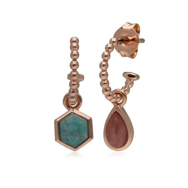 Mini Statement Rhodochrosit & Amazonite Asymmetrische Creolen in Rose Vergoldetem 925 Sterling Silber