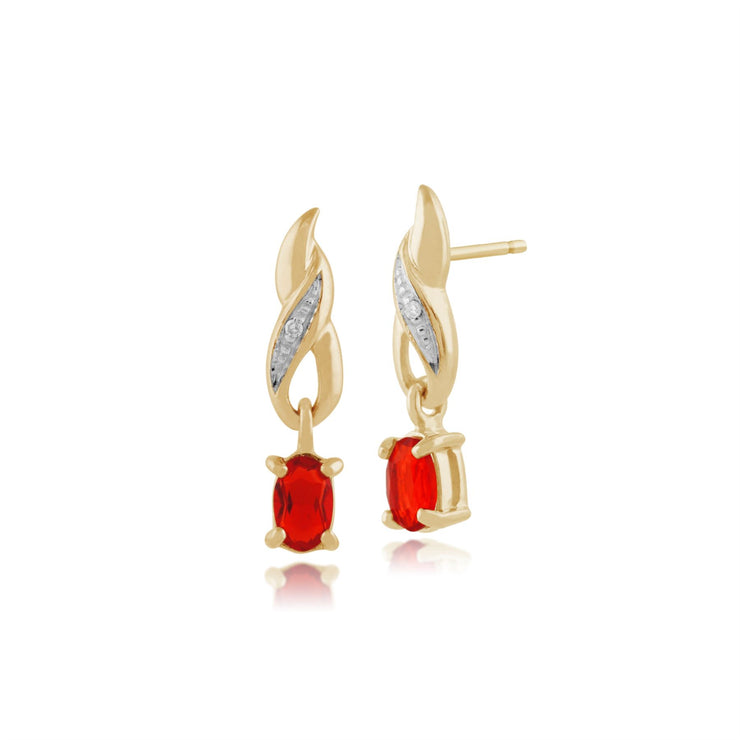 Damen 375 Gold 9ct Gelbgold Ovaler Feueropal Ohrringe Orange mit Diamant