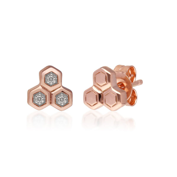 Diamant Trilogie Asymmetrishe Ohrstecker in 9ct Rose-gold