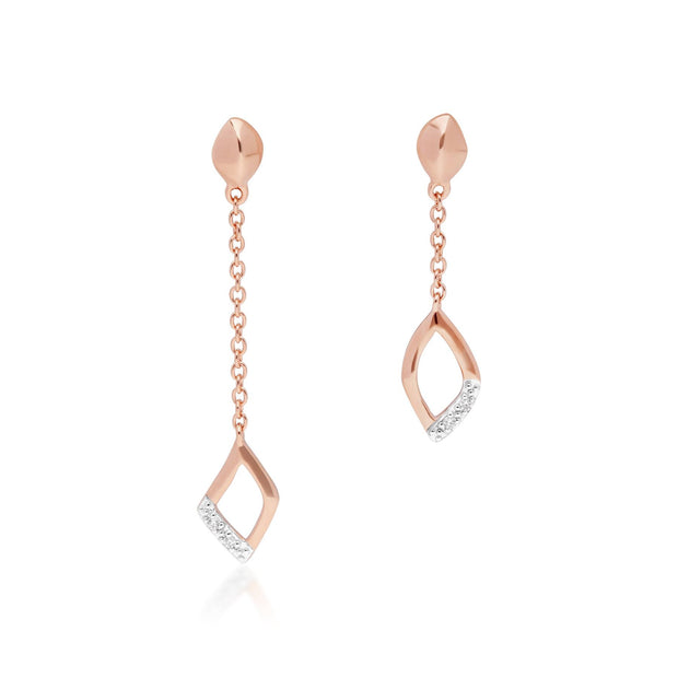 Diamant Pave Asymmetrische Ketten Tropfen Ohrringe in 9ct Rose Gold