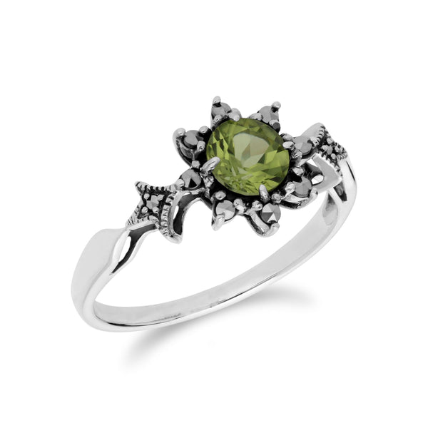 Peridot-Ring, Sterlingsilber Peridot & Markasit August Kunst Deko Ring
