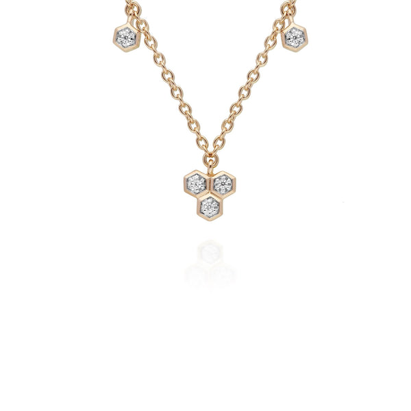Diamond  Geometric Trilogy Chain Necklace in 9ct Yellow Gold