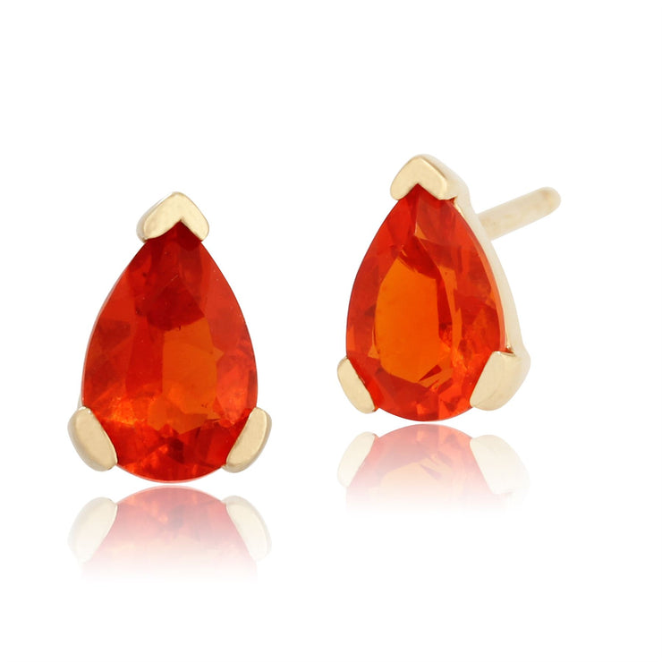 Damen 375 Gold 9ct Gelbgold Birne Feueropal Classic Claw Ohrringe Orange 6.5x4mm