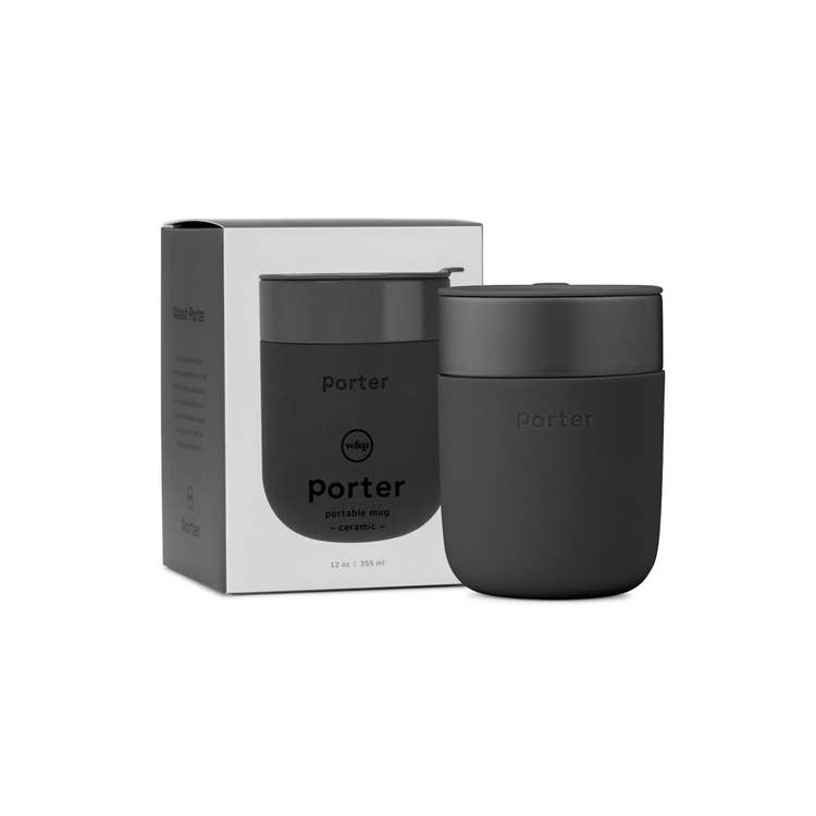 Reusable 12 oz Coffee Mug in Charcoal by Porter