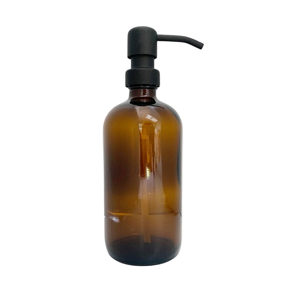 Amber Glass Reusable Soap Dispenser 16oz