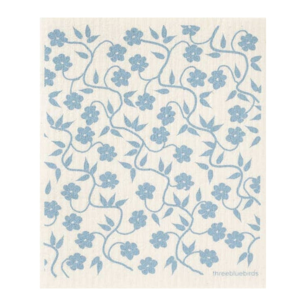 Swedish Dishcloth - Blue Vines
