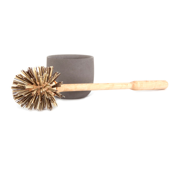 Birch Wood Toilet Brush with Concrete Cup