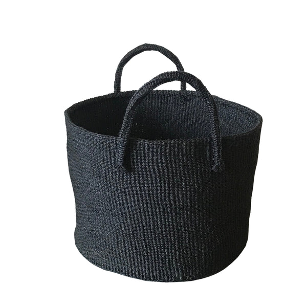 Sisal Round Storage Basket - Black