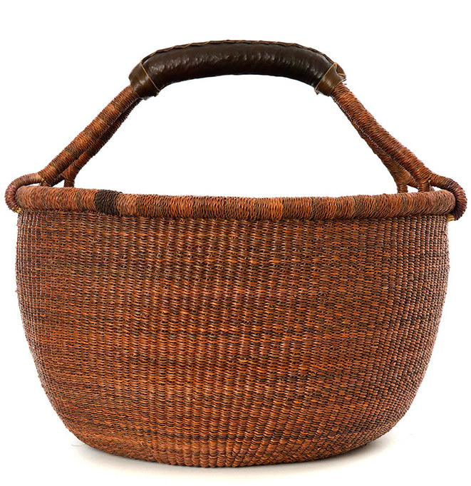 Large Ginger Market Basket with Leather Handle