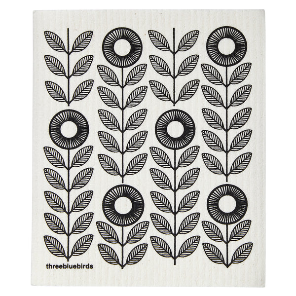Swedish Dishcloth - Black Sunflowers