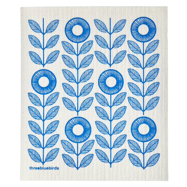 Swedish Dishcloth - Blue Sunflowers