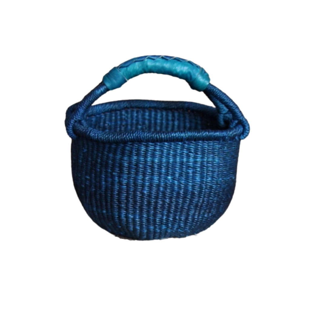 Indigo Blue Mini Bolga Basket with Leather Handle