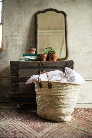 Laundry Basket with Leather Handles