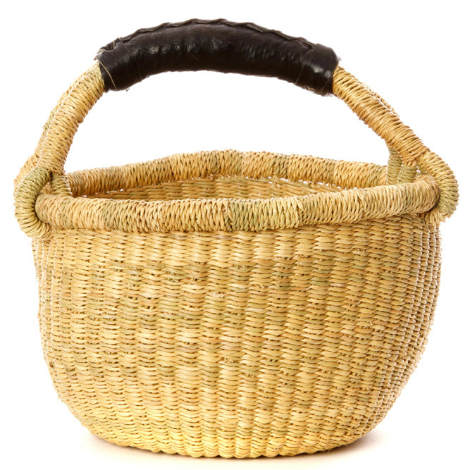 Natural Mini Natural Bolga Basket with Black Leather Handle