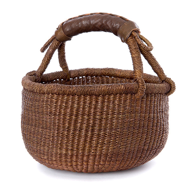 Brown Mini Natural Bolga Basket with Leather Handle
