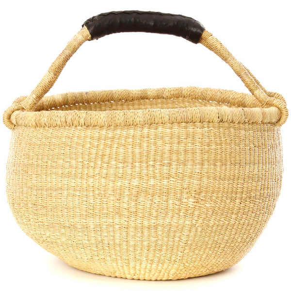 Large Natural Market Basket with Black Leather Handle