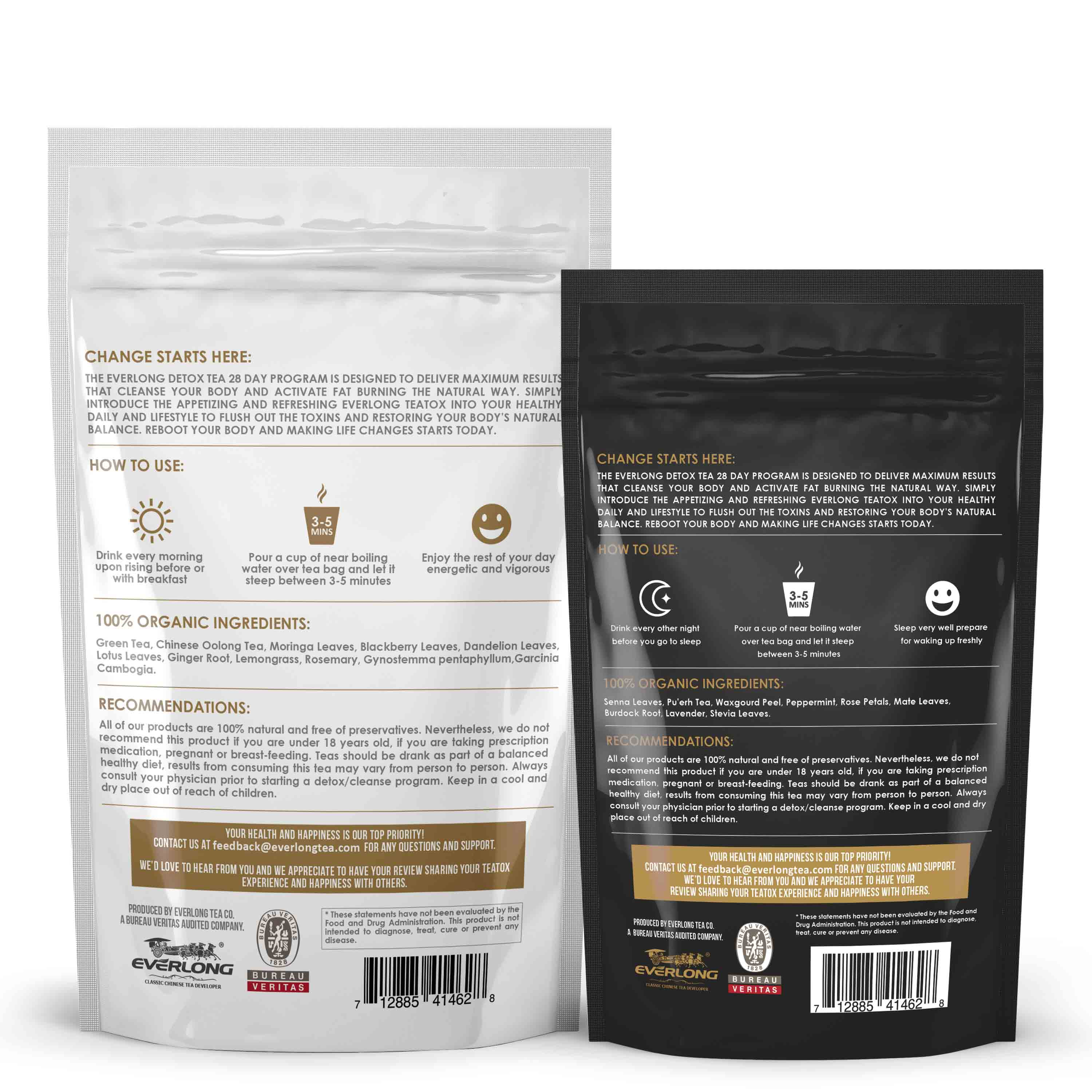 Detox Tea - 28 Day Ultimate Teatox (Morning Boost & Night Cleanse) with Bonus Digital Welcome Guide