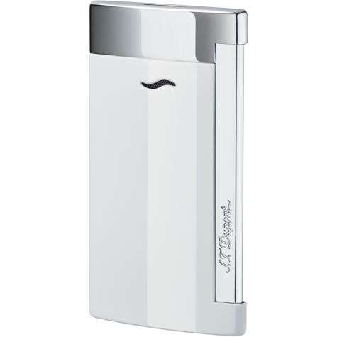 S.T. Dupont Slim 7 Single Torch Flame White Lacquer & Chrome