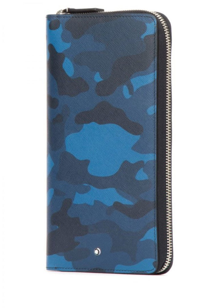 Montblanc Sartorial Leather Wallet Camo Blue