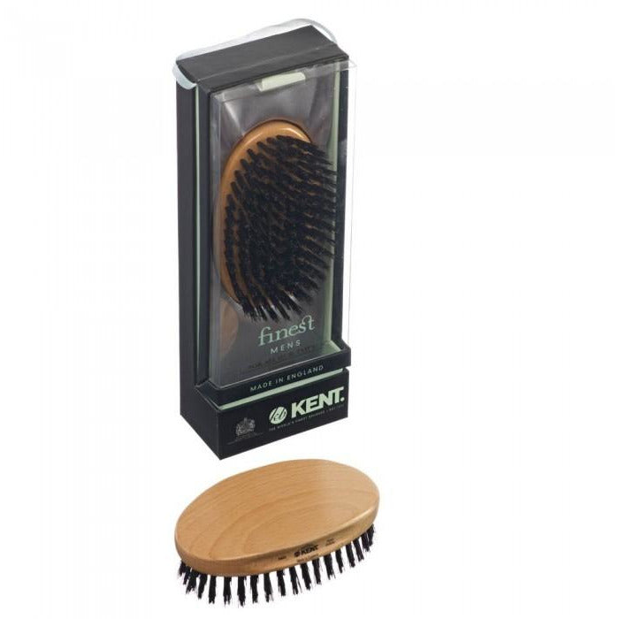 Kent MG2 Military Hair Brush, Oval White Bristle