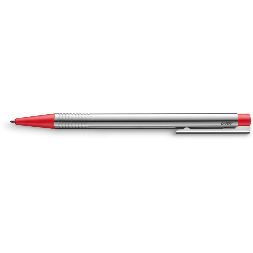 Lamy Logo Ballpoint Pen Steel w/Red Trim
