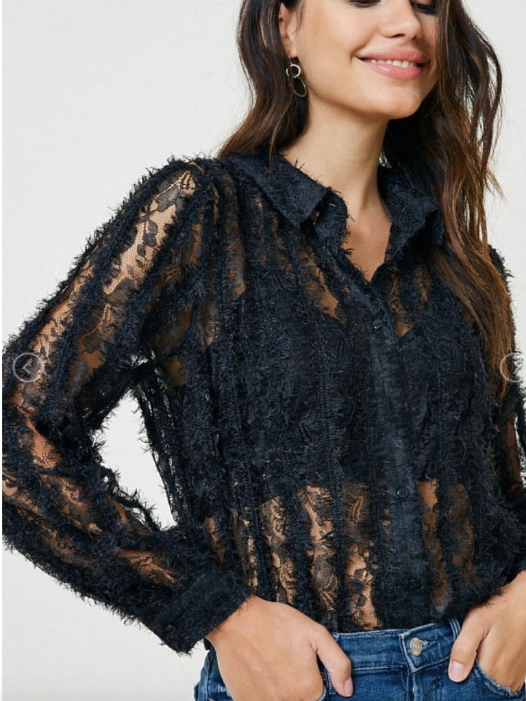 Sheer Fuzzy Lace Button Down Top - Sswing Lifestyle Company